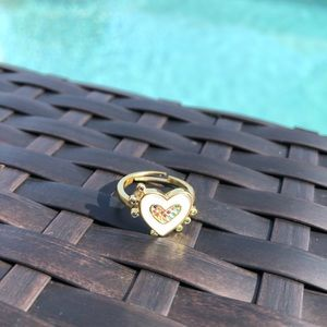 White Heart & Multicolored Stone Ring NWT